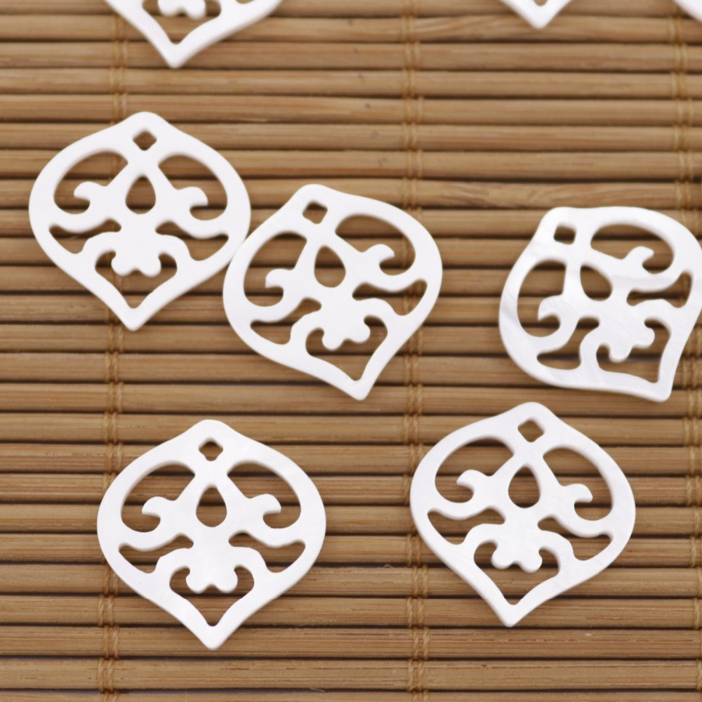 Купить с кэшбэком 10PCS 19mm Flower Shell Natural White Mother of Pearl Loose Beads Jewelry Making