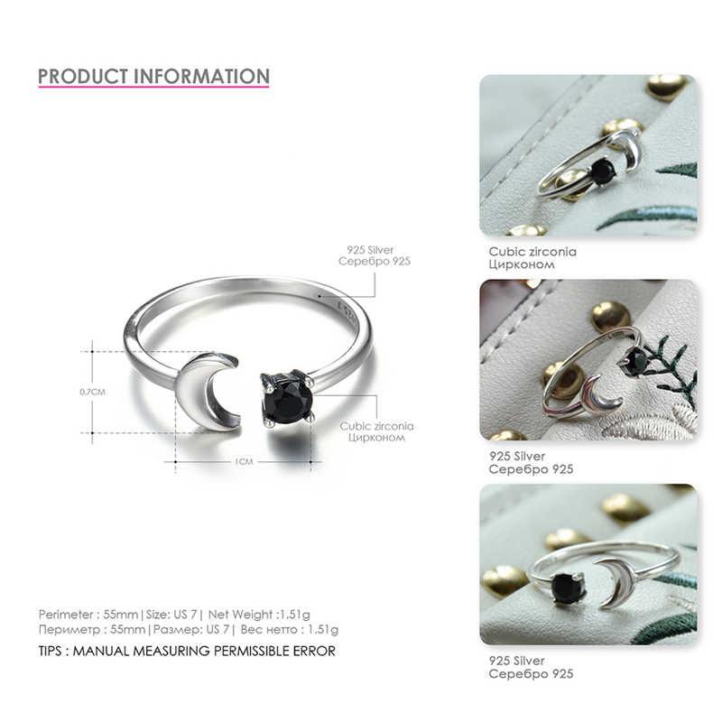 ROMAD 925 เงินสเตอร์ลิงเปิด moon แหวน delicalte minimal ผู้หญิงคริสต์มาสของขวัญน่ารักเงินปรับขนาดได้เครื่องประดับแหวน CZ R4