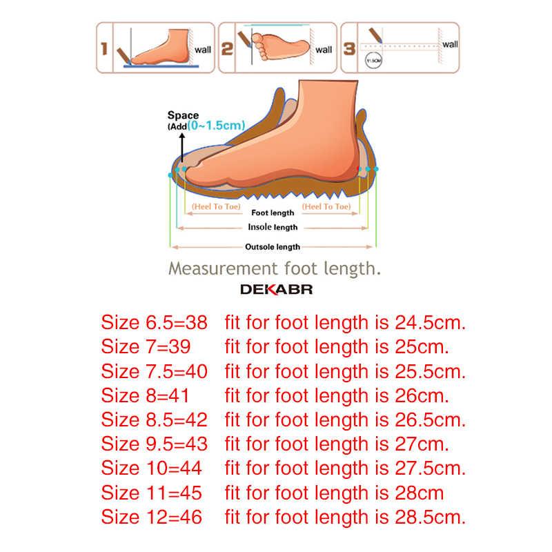 DEKABR yeni erkek deri çizmeler moda sonbahar kış üst marka yarım çizmeler Lace Up erkek ayakkabısı ayakkabı günlük çizmeler Drop Shipping