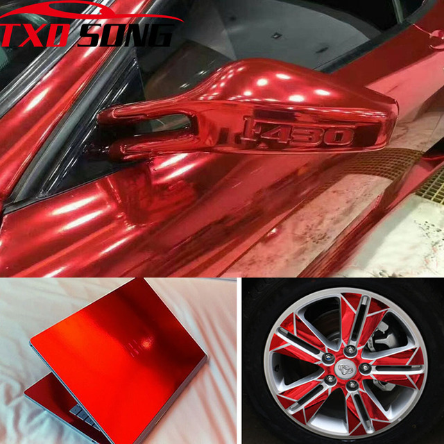 7 Sizes High quality Strechable chrome mirror red film Flexible car mirror red vinyl sticker Decal sheet