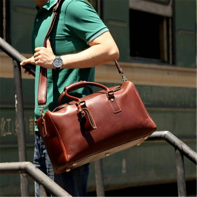 placeholder Baigio Genuinie Leather Travel Bags Men Duffle Overnight Weekender  Bag Carry on Shoulder Luggage Men s Business 624e802a35