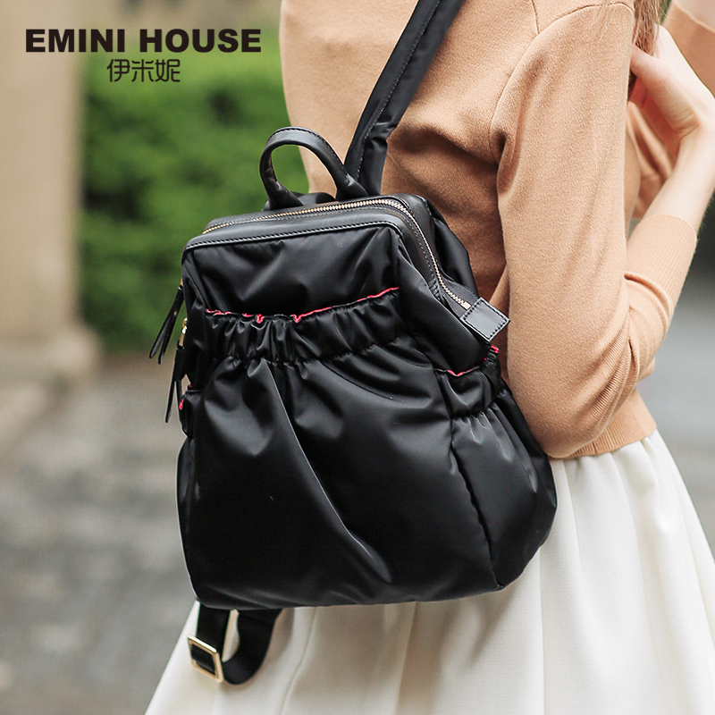EMINI HOUSE Nylon Laptop Backpack Women School Bag Waterproof Backpack Zipper Shoulder Bags Ruched Backpacks For Teenage Girls tegaote new design women backpack bags fashion mini bag with monkey chain nylon school bag for teenage girls women shoulder bags