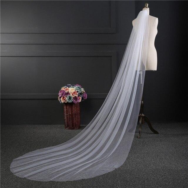 Ayicuthia dengan Harga Murah Foto Nyata 3 M atau 2 M Putih/Gading Pernikahan Tudung Satu Lapisan Panjang Bridal Veil kepala Kerudung Pernikahan Aksesoris TS7