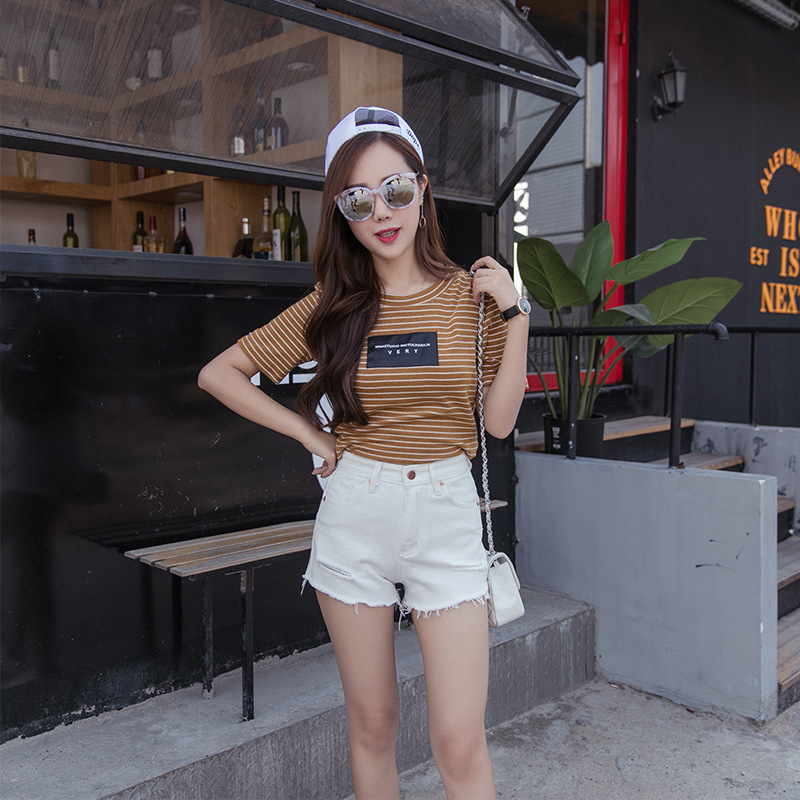 American Apparel Rushed Sale Cotton Women Jeans High Waist Jeans The 2016 Summer Denim Shorts Female Hole Slim Burr Shorts. american apparel women high waist jeans