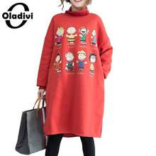 327303af144 Oladivi Plus Size Women Velvet Dress Ladies Casual Loose Fleece Dresses  Female Fashion Print Turtleneck Warm Top Tunics Vestidos