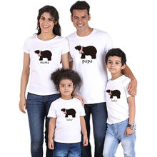 Family Look Cartoon Bear Papa Mama Baby Kids Outfits Matching Clothes Mother Daughter Father T Shirt Summer Clothing