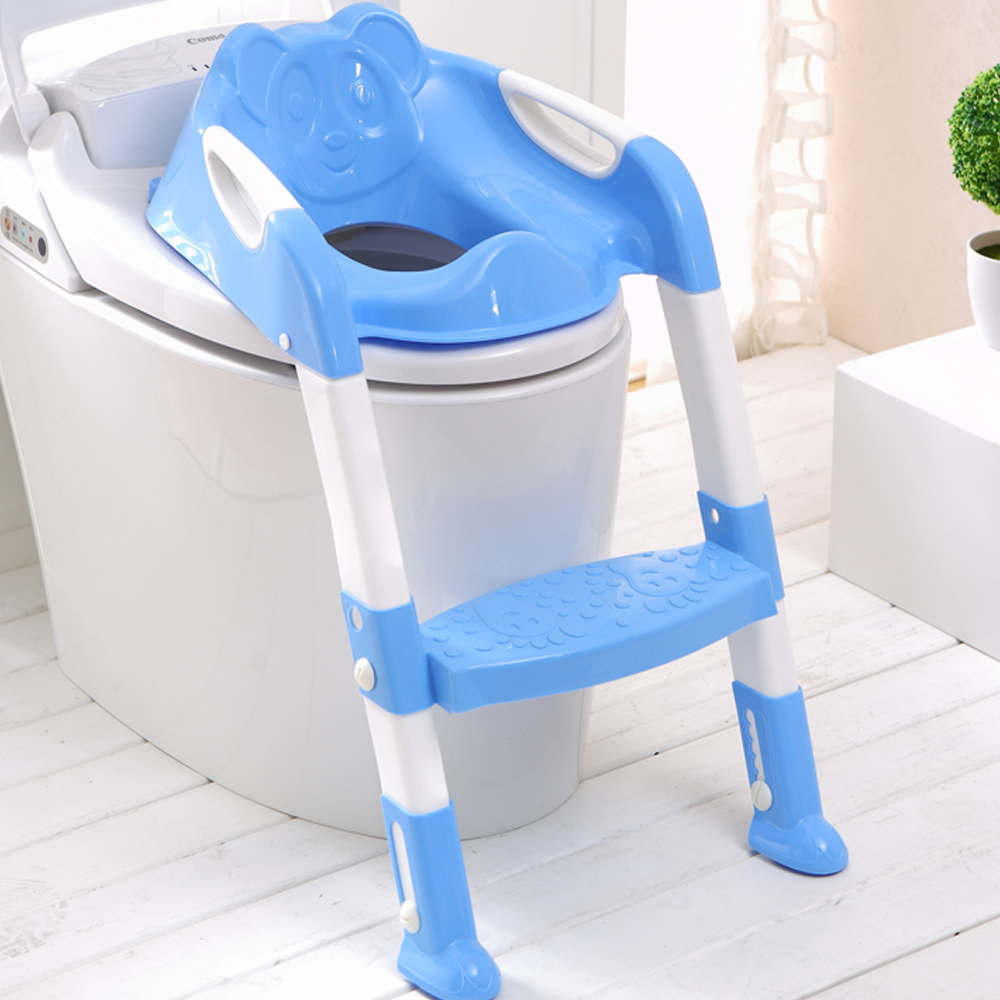 EN71 Toddlers Adjustable Height Feet Step And Potty Seat Baby Ladder Kids Children Folding Potties Toilet Training Stand Step