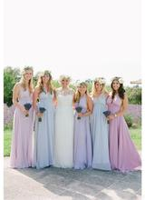 2017 Hot Sell Elegant  Long Chiffon Bridesmaid Dresses  A-line Halter Women Beaded Formal Wedding Party Gowns for Women