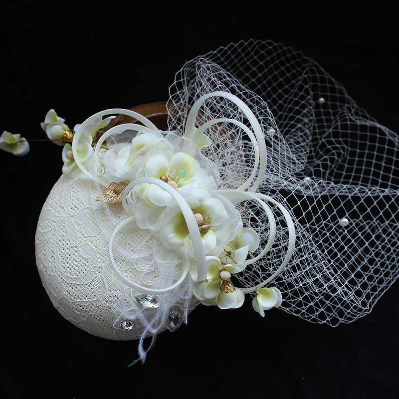 Unique Women Rhinestone Veil Hair Fascinator Clip Linen Flower Hat Lady Hairpin Church Tea Party Wedding Bride Hair Accessories elegant lady flower feather fascinator wedding tea party bridal veil cocktails hat