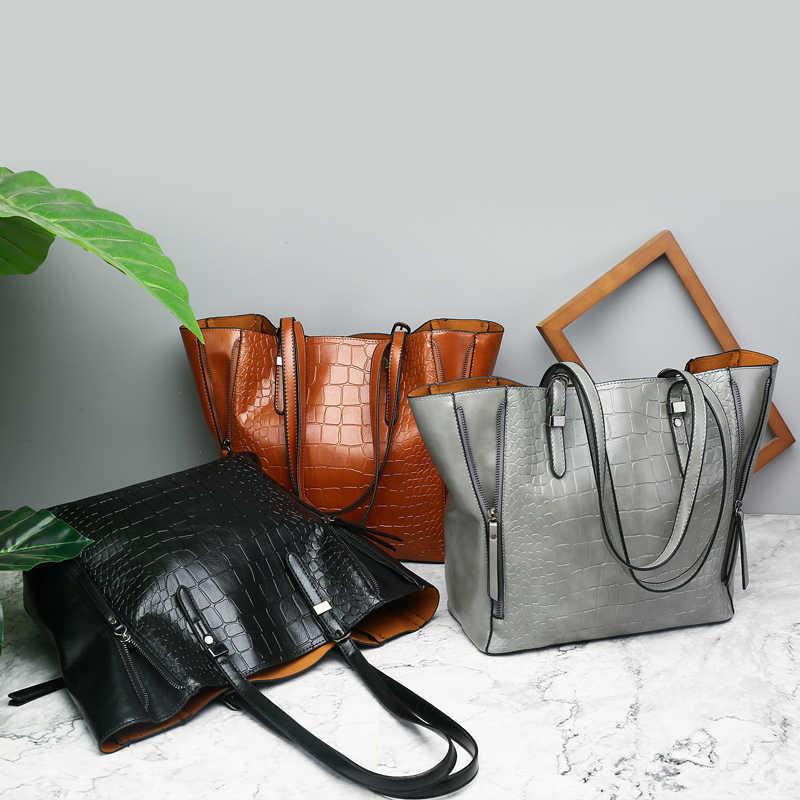 0af808d01255 ... Luxury Crocodile Bags Handbags Women Famous Brand Designer Female Big  Shoulder Bags For Women 2018 Double ...