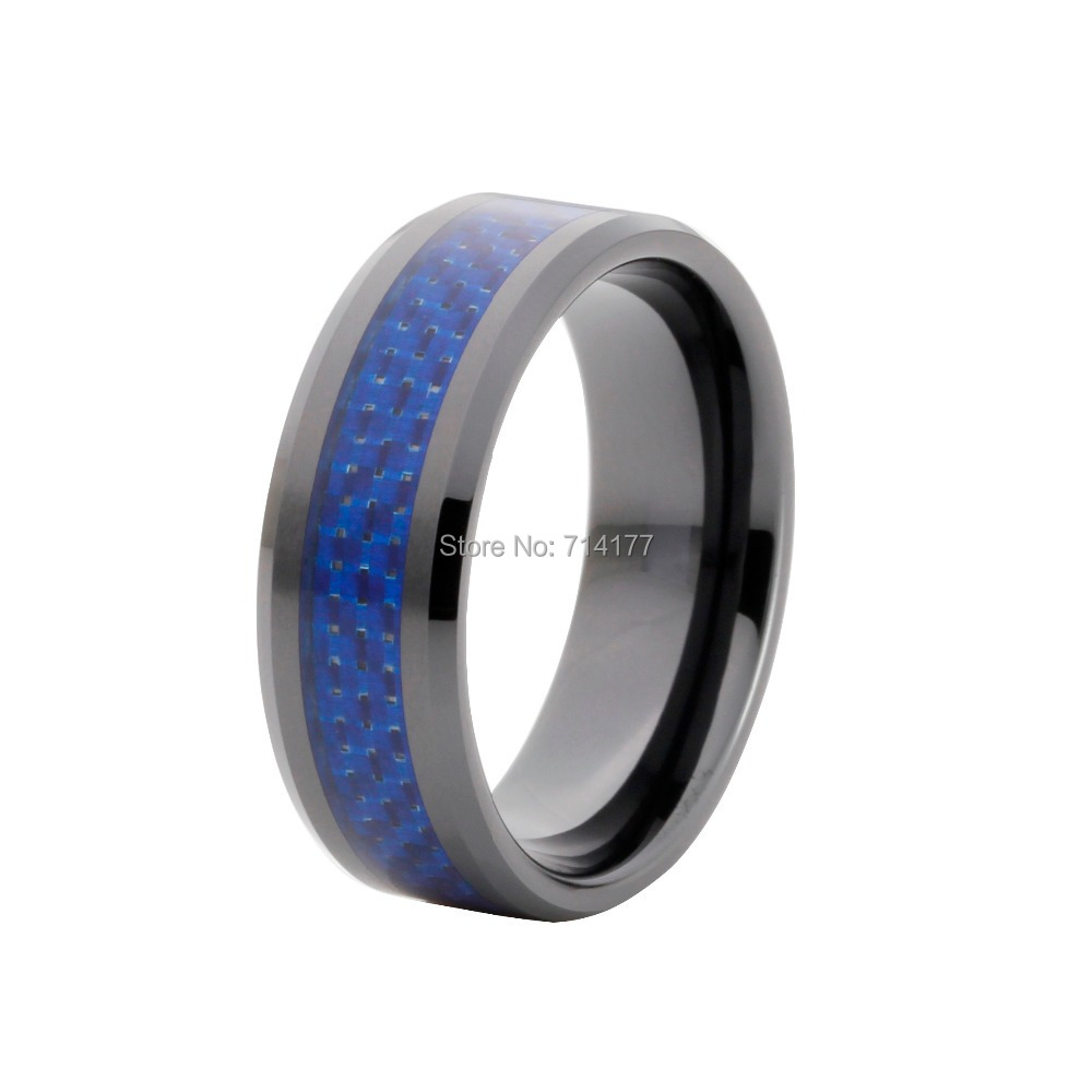 8mm Black Plated Tungsten Wedding Band With Dark Blue Carbon Fiber Inlay Engagement  Ring