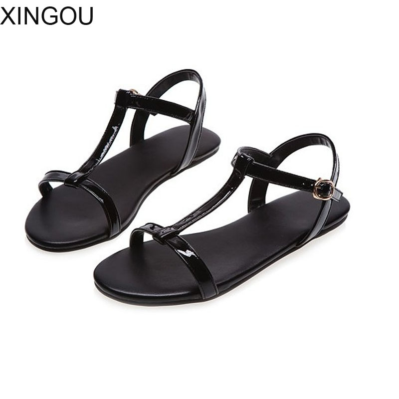 New PU women sandals Concise fashion 2018 flat women's sandals Buckle lady sandals Patent Leather plus size summer shoes women 2014 new gold scorpion black patent leather flat women sandals shoes free shipping