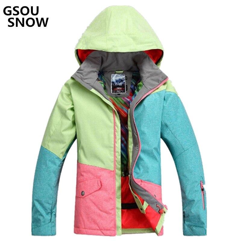 Gsou neige pour femme s veste ski costume Camp pour équitation Ski Sport imperméable 10000 coupe-vent snowboard super chaud veste