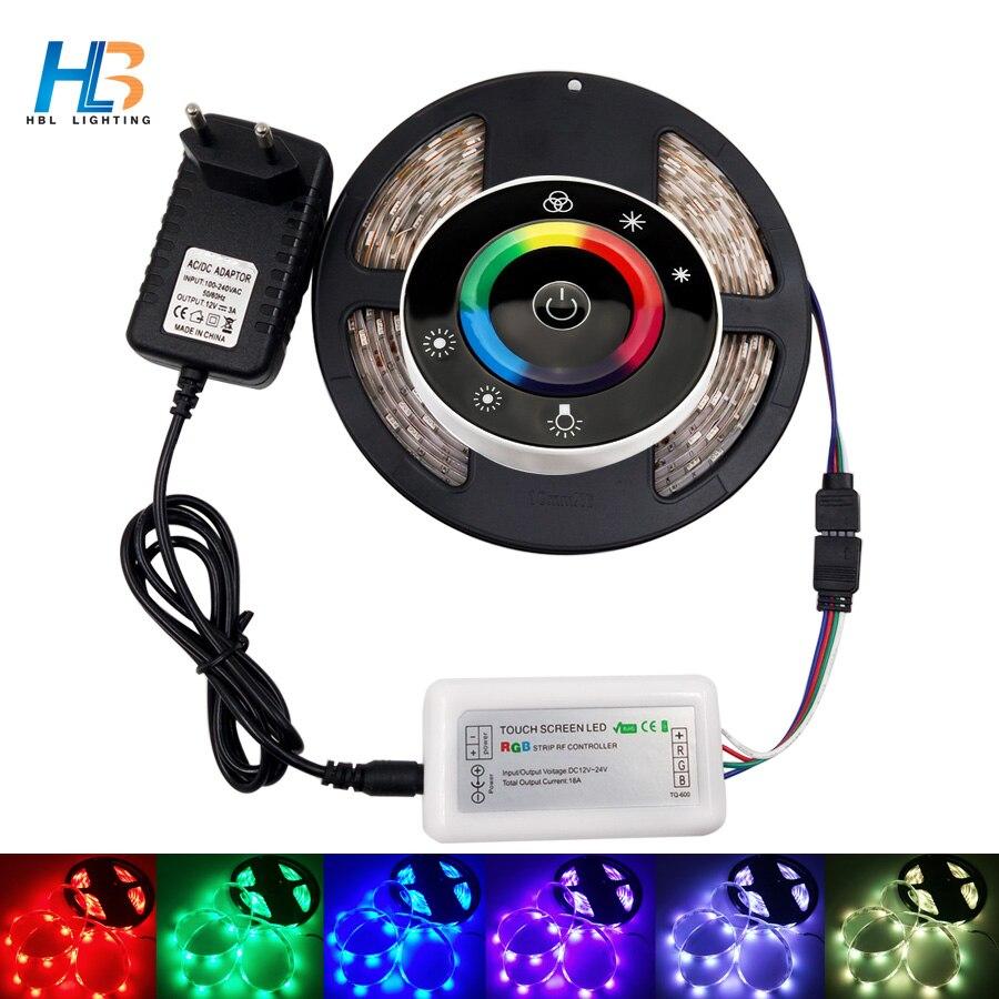 HBL LED Strip Light 5050 4M 5M 10M RGB LED strip Light 8M Leds tape diode led ribbon Flexibleled strip remote dc 12V Adapter set