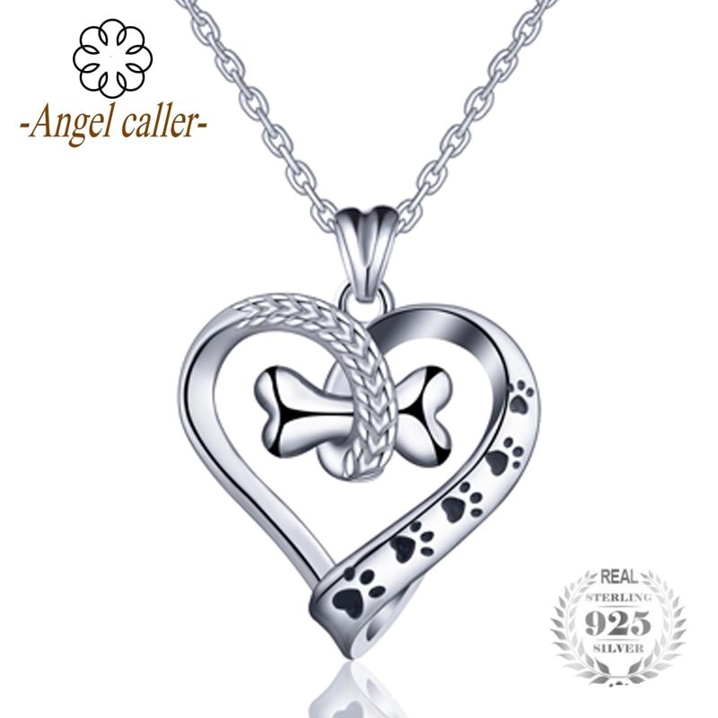 Angel de llamadas de la plata esterlina 925 perro y gato huella collar hueso corazón colgante collares joyería fina CYD105