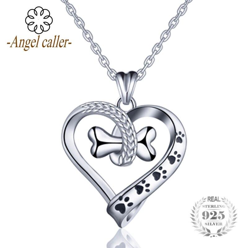Engel Anrufer 925 Sterling Silber schöne Hund und Katze Fußabdruck Halskette Knochen Herz Anhänger Halsketten Frauen Edlen Schmuck CYD105
