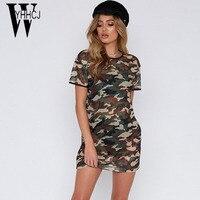 WYHHCJ 2018 Vestidos New Camo Women Summer Dress Short Sleeve O Neck Mini Dress Women Bodycon