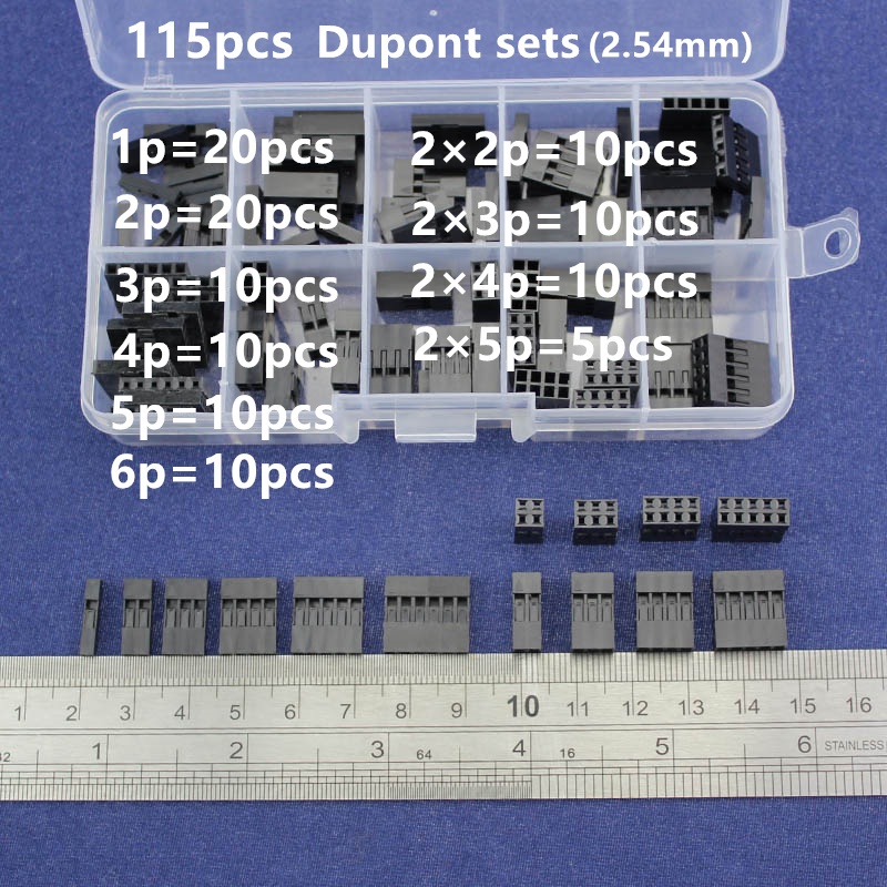115pc Dupont sets Kit with box 1P/2P/3P/4P/5P/6P/2*2/2*3/2*4/ 2*5Pin Housing Plastic Shell Terminal Jumper Wire Connector set double row dupont kit 1p 2 2 2 3 2 4 2 5 2 6 2 7 2 8 2 9 2 10pin housing plastic shell terminal jumper wire connector set