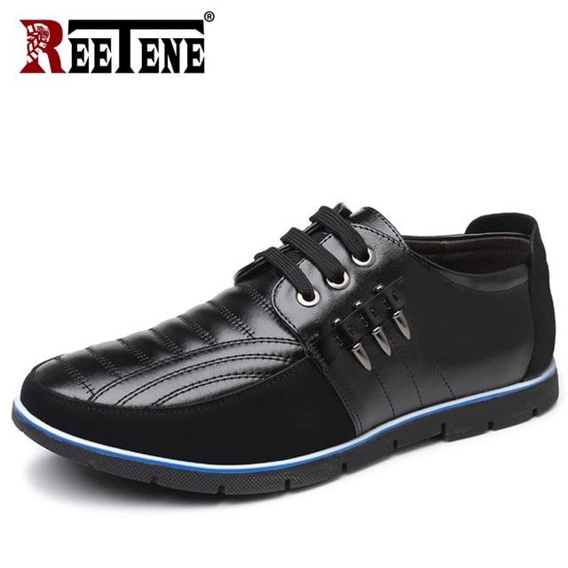 REETENE Plus Size 37-48 가죽 Casual Shoes Men (High) 저 (Quality 가죽 Men Casual Shoes 가 가죽 화 대 한 men Flat Shoes