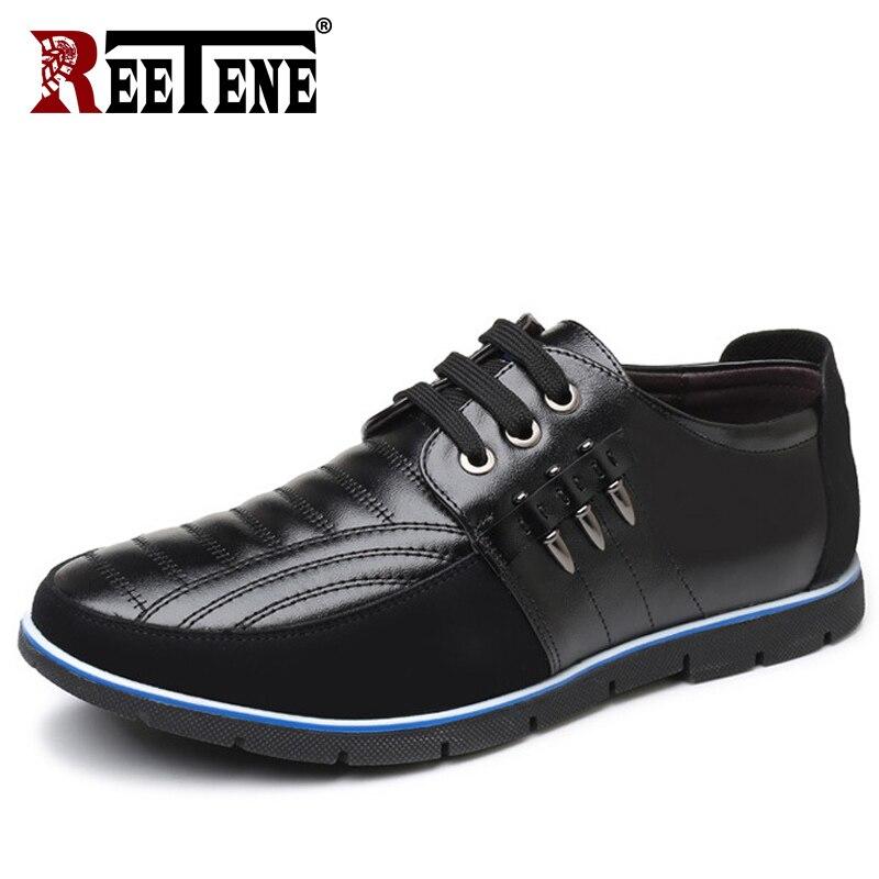REETENE Plus tamaño 37-48 zapatos casuales de cuero zapatos de los hombres de alta calidad de cuero de los hombres zapatos casuales zapatos de otoño zapatos de cuero para zapatos planos de hombres