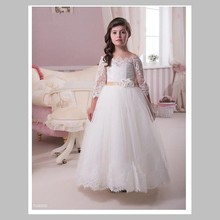 Half Sleeve Lace Flower Girls Dresses For Weddings New 2016 Ball Gown Tulle Vintage White First Communion Dress For Little Girls