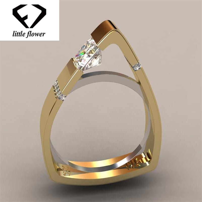 Creative Geometric Triangle Diamond Ring 14K Gold Gemstone Bizuteria for Women Bague Etoile Peridot Anillos De Jewelry Ring 2019