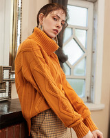 merino wool blend fashion argyle thick knit women wide loose pullover sweater irregular long XS XL orange yellow 2color