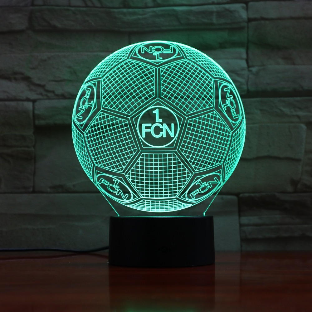 German 1FC Nurnberg USB LED 3D Lamp LED Football 1FCN 3D Sensor Night Light Atmosphere Lamp as Bedroom Decoration 3D-886