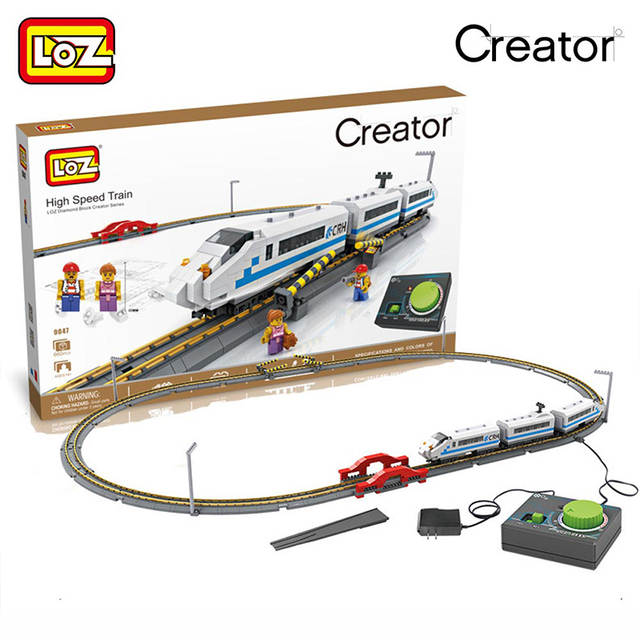 US $74 76 39% OFF|LOZ 2018 New Diamond Blocks Remote Control High Speed  Train Rail 3D Model CRH Toys For Children Gifts 9047 660PCS-in Model  Building
