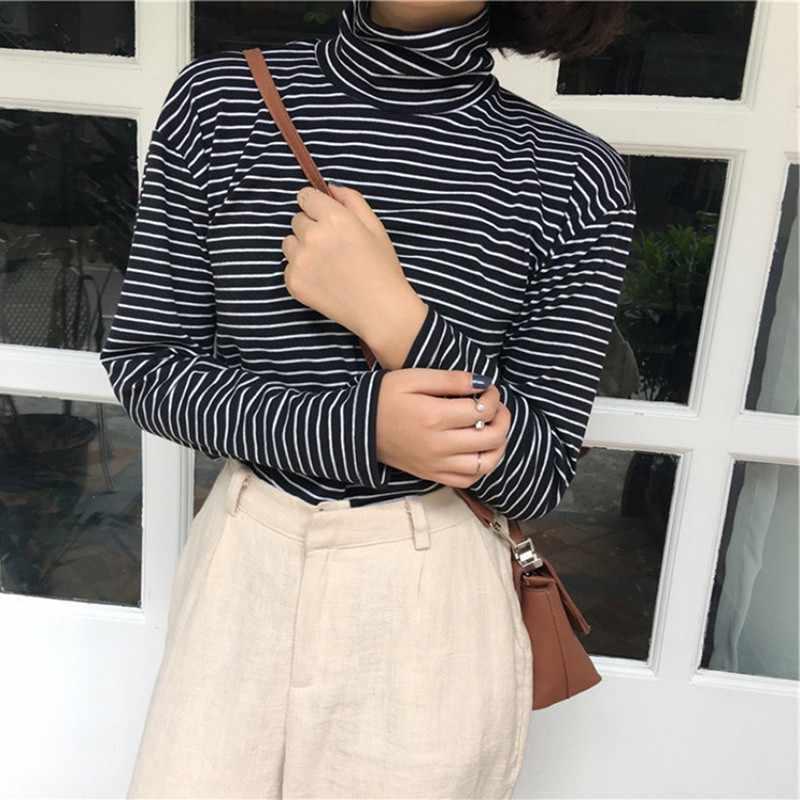 9efee73120d1 2018 Korean Style Striped T Shirt Women Black White Striped Long Sleeve T  Shirts Loose High