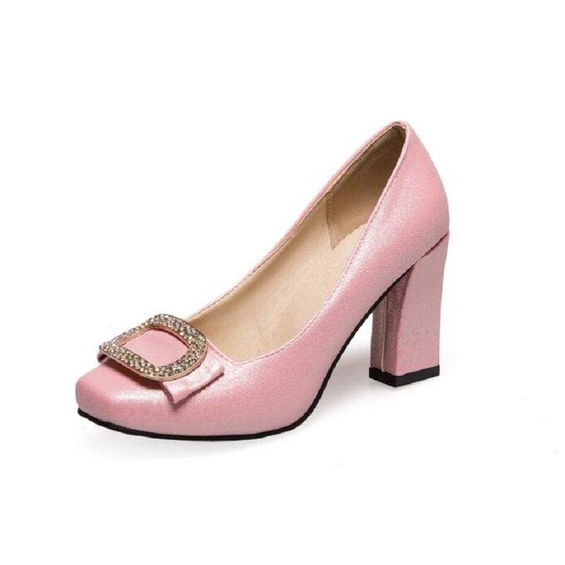Mode Mariage pink Femmes Pompes Bout Élégant Strass Hauts Talon Carré Nouveau Beige red Rond Talons De À Chaussures Partie white rxBoedCW