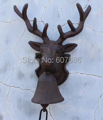 Vintage Style Reindeer Cast Iron Door Bell Rustic Wall Mounted Deer Stag Head Doorbell Dinner Bell Farm Ranch Gate Free Shipping