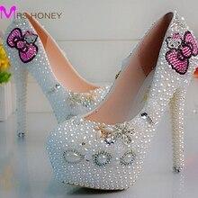 New Fashion Pearl Crystal Wedding font b Shoes b font font b Custom b font Made
