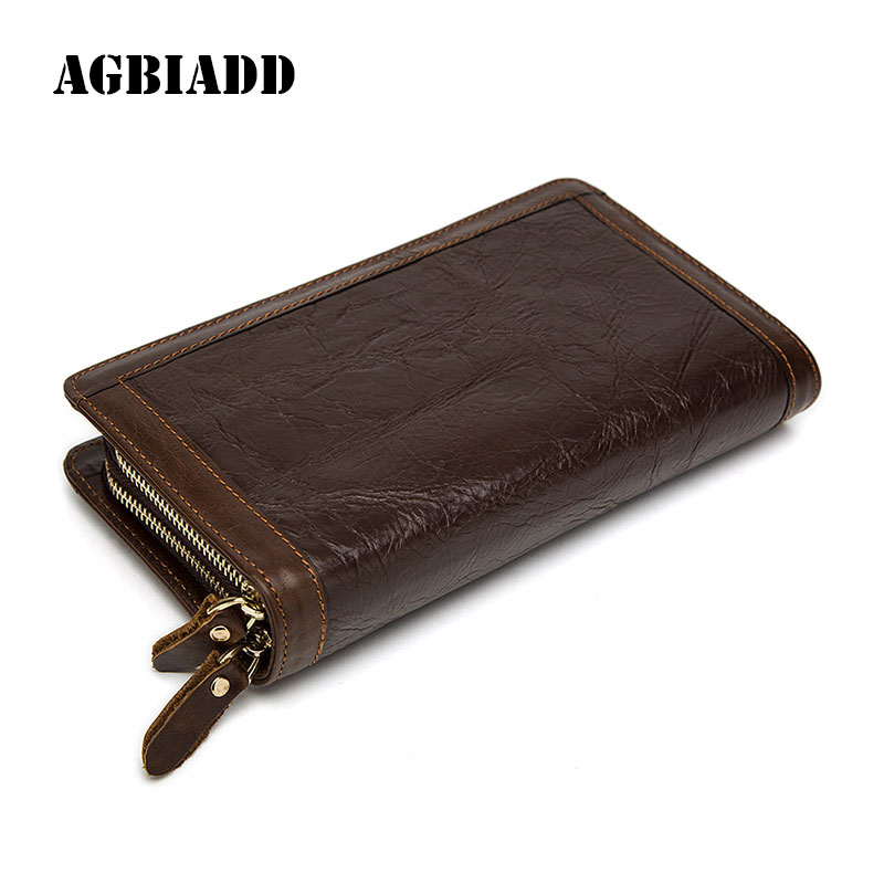 AGBIADD Brand Men Wallets Long Genuine Leather Wallet 2017 Purse Men Long Zip Cowhide Male Gift Clutch Bag 415 bvp luxury brand weave plain top grain cowhide leather designer daily men long wallets purse money organizer j50