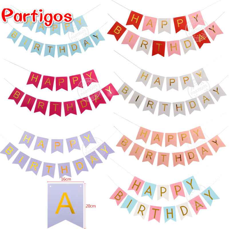 13pcspack pink blue colorful diy paper happy birthday letter banner garland birthday party decor supplies banner string 24m in banners