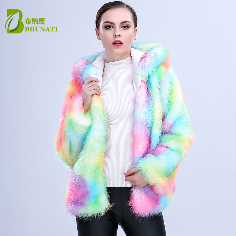New Arrival Women Colorful Faux Fox Fur Coat With Hooded Multicolor Long Sleeve Artificial Fur Coats Jacket