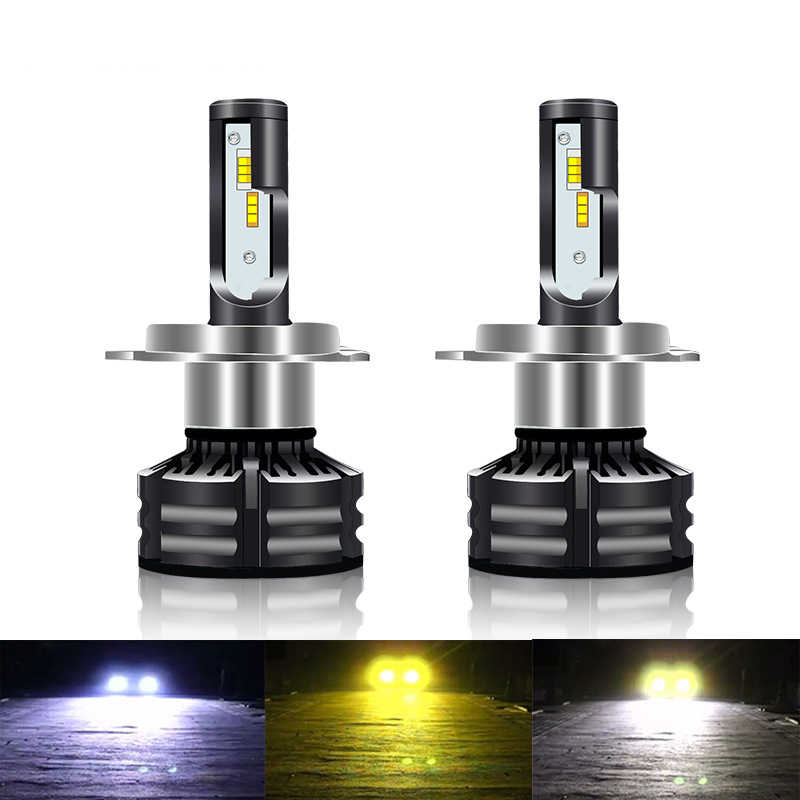 Three Color Flash Car LED Headlight Kits H3 H1 H7 H11 9005 9006 H4 60W 4300K 3000K Yellow 6000K White Dual Color LED Light Bulb