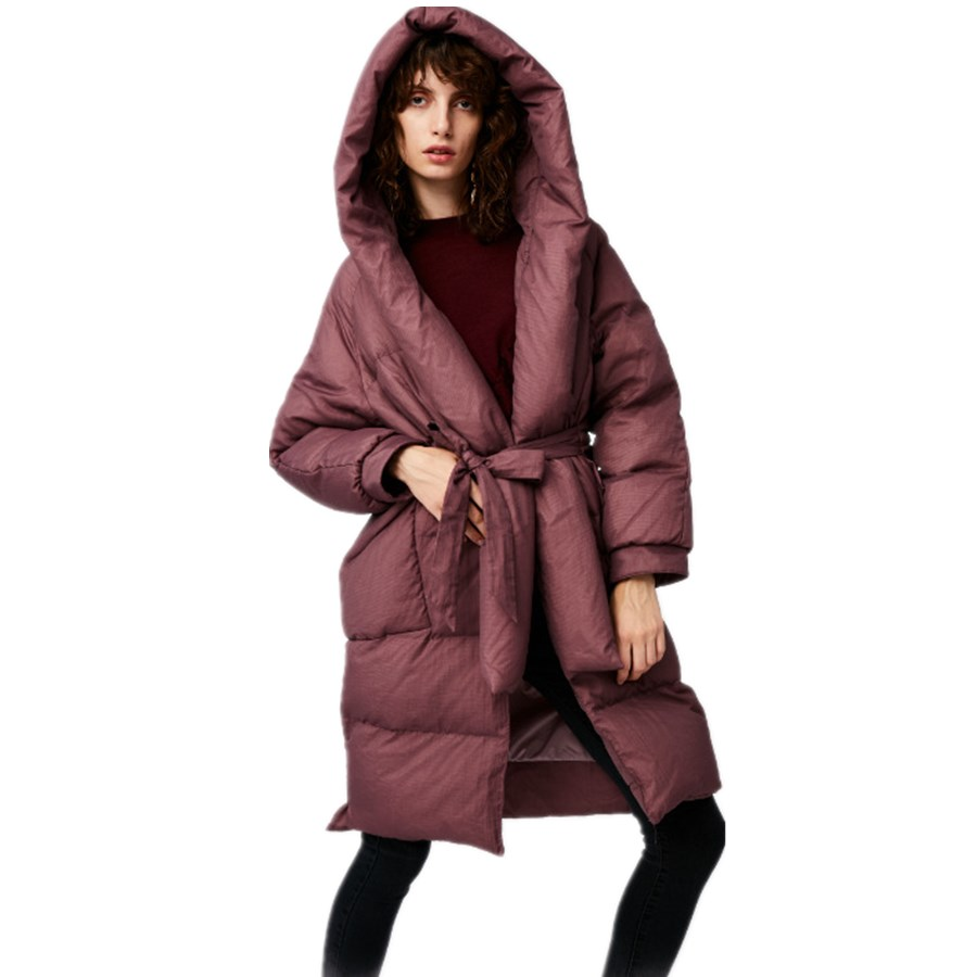 Factory outlet winter fashion fluffy filler goose   down   parkas female long thicker hooded thicker warm   coat   with belt wq797