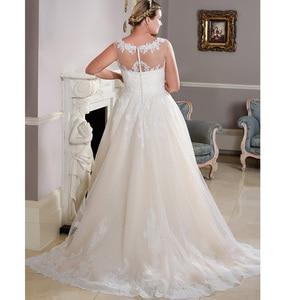 Image 4 - Neue Ankunft Scoop Neck Plus Größe Hochzeit Kleider Ärmellose Spitze Applique A line Brautkleid Brautkleider Vestido De Novia