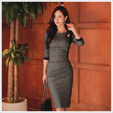 Autumn Sexy Party Vestidos 2018 Grey Slim Bodycon Knee-Length Midi Cloth Women Hollow Out Pencil Vintage Dress QC142(China)