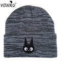 2016 Women And Men's Winter Autumn Female Hat Fashion Cat Cartoon Embroidery Beanies Sports Caps Knitted Hats For Women Skullies