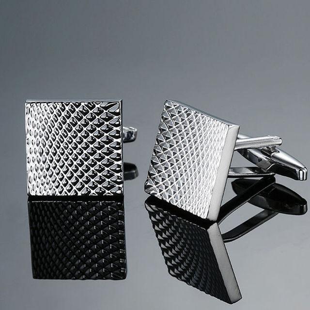 Copper quality enamel square stripes gold silver black flower cufflinks Top brand 5