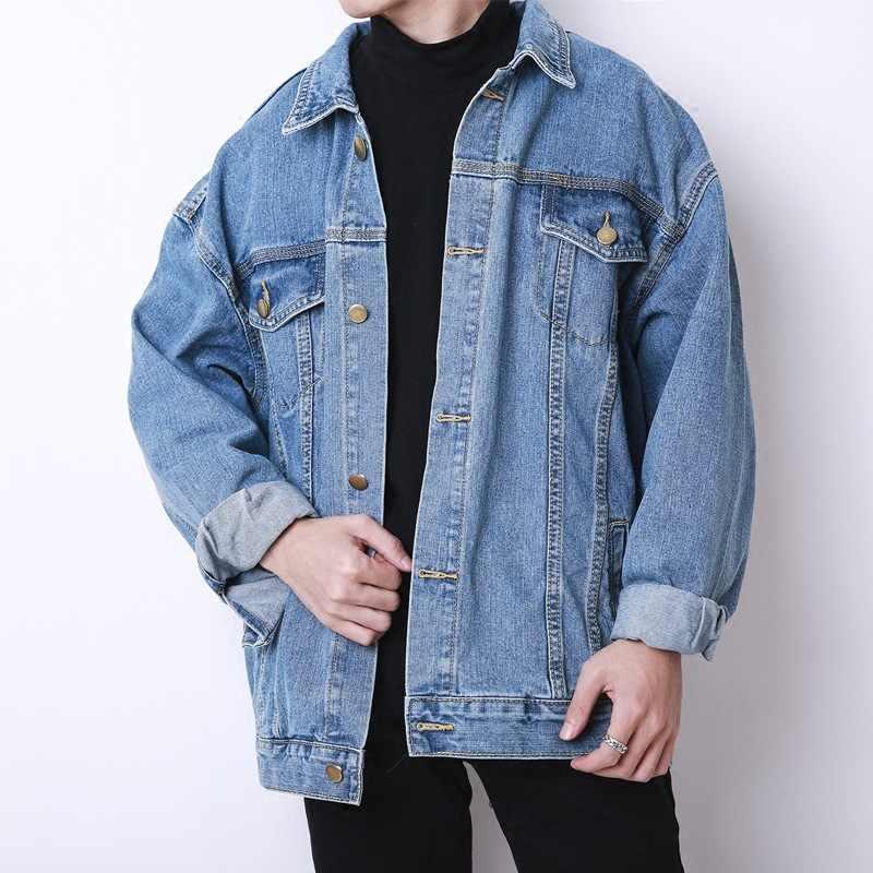 Commercio all'ingrosso 2019 Autunno inverno Coreano allentato oversize giacca di jeans degli uomini retro Cargo lavaggio studente adolescenti uomini giacca abbigliamento