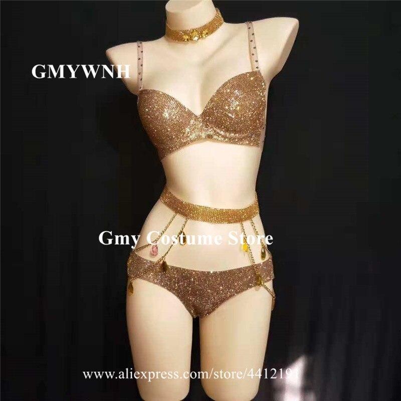 E51 Gold Color Rhinestone Bodysuit Dj Bikini Dress Bra Catwalk Performance Show Clothe Party Outfits Disco Pole Dance Costumes Home & Garden