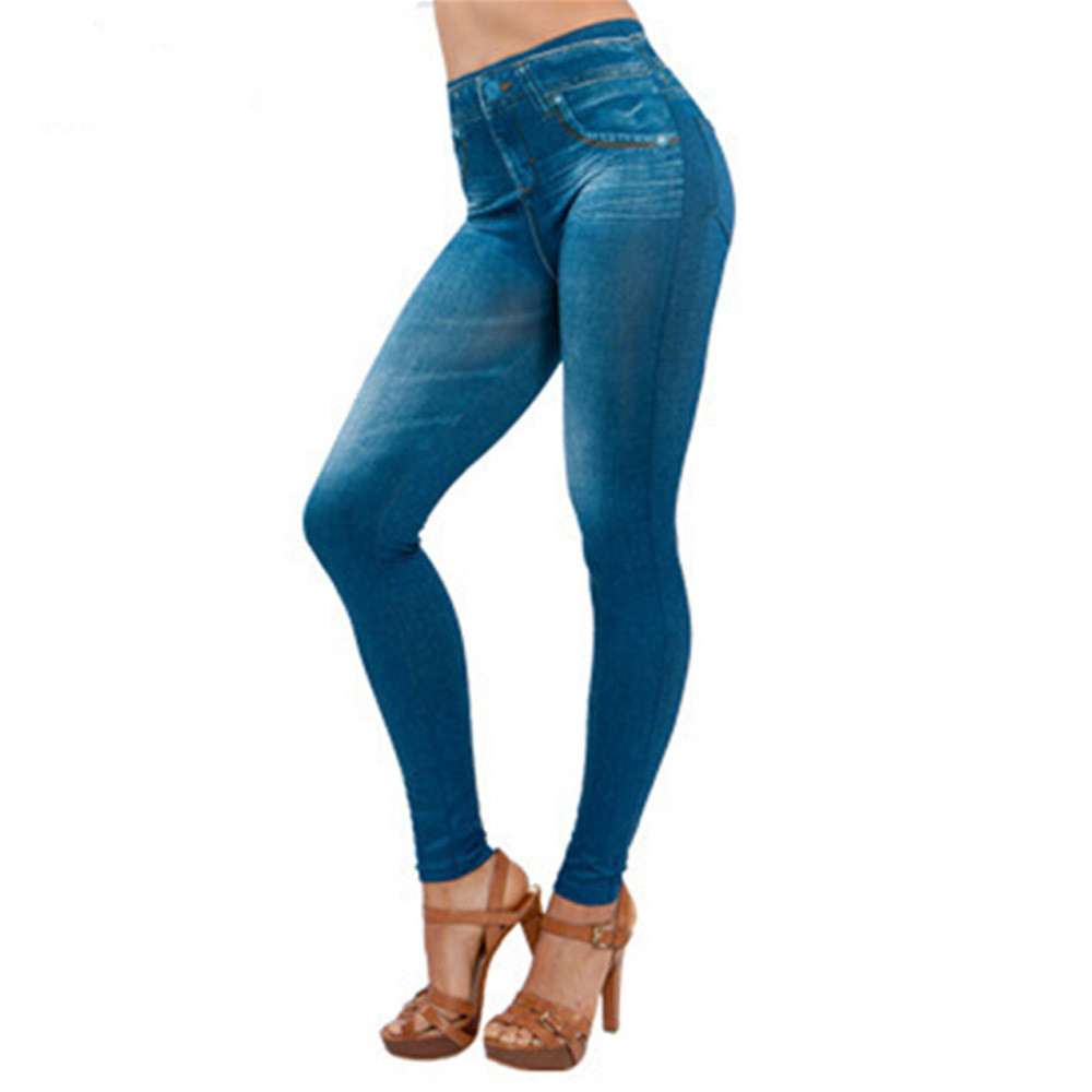 Women Denim Pants Pocket Slim Leggings Fitness Plus Size Leggins Sexy Solid Cowboy cotton Length   Jeans   Drop Shipping