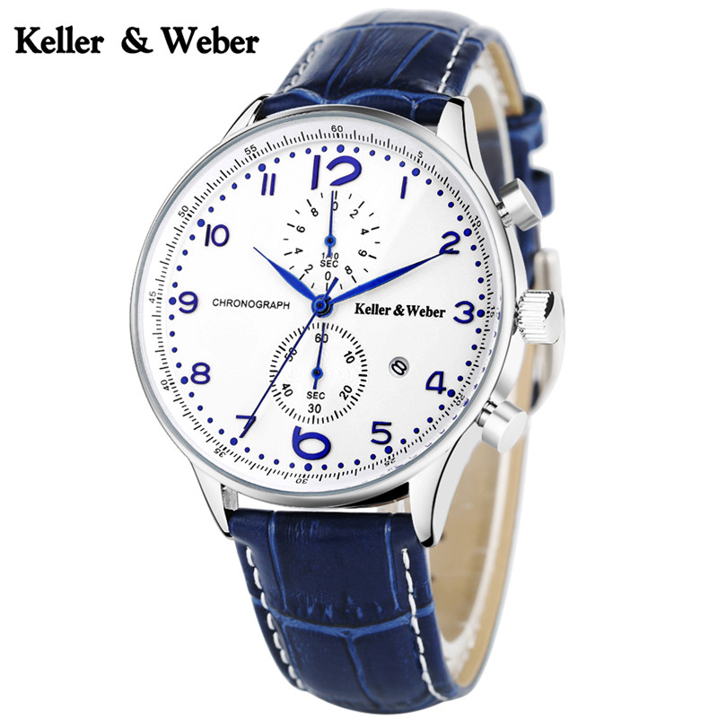 Keller & Weber KW Luxury Mens Business Casual Watch Quartz Date Chronograph 3ATM Water Resistant Wristwatches Black/White Dial luise keller luise keller ожерелье 133319