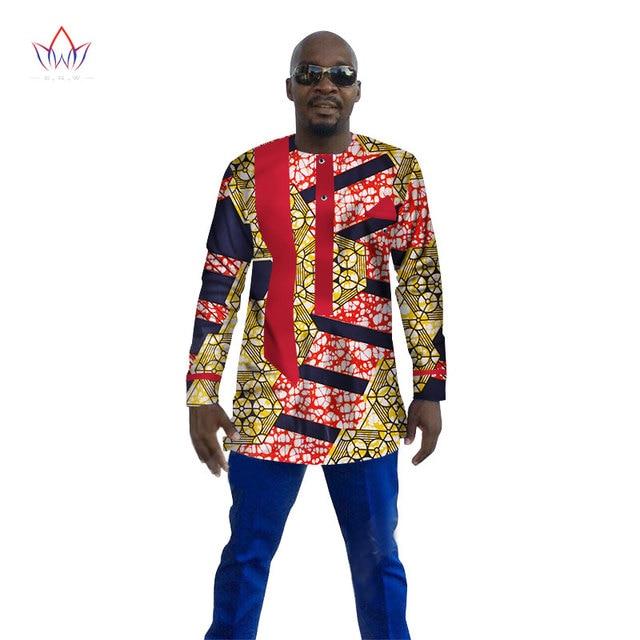3c8e04194bb 2017 New Dashiki Men Shirt Long Sleeve Mens African Clothing Plus Size 6XL  Africa Style Mens Print Cotton Wax Tops BRW WYN110