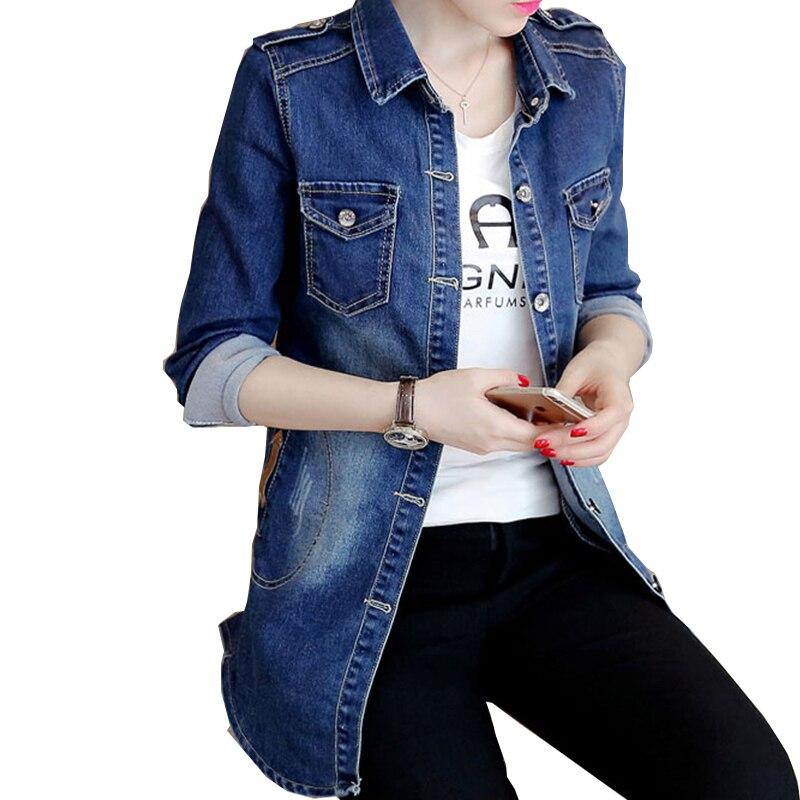 přidat nové bavlněné modré nové Dámské základní kabáty Podzimní džínové bundy Vintage Dlouhý rukáv Volný Dámské džíny Kabát Neformální Dívčí Oblečení