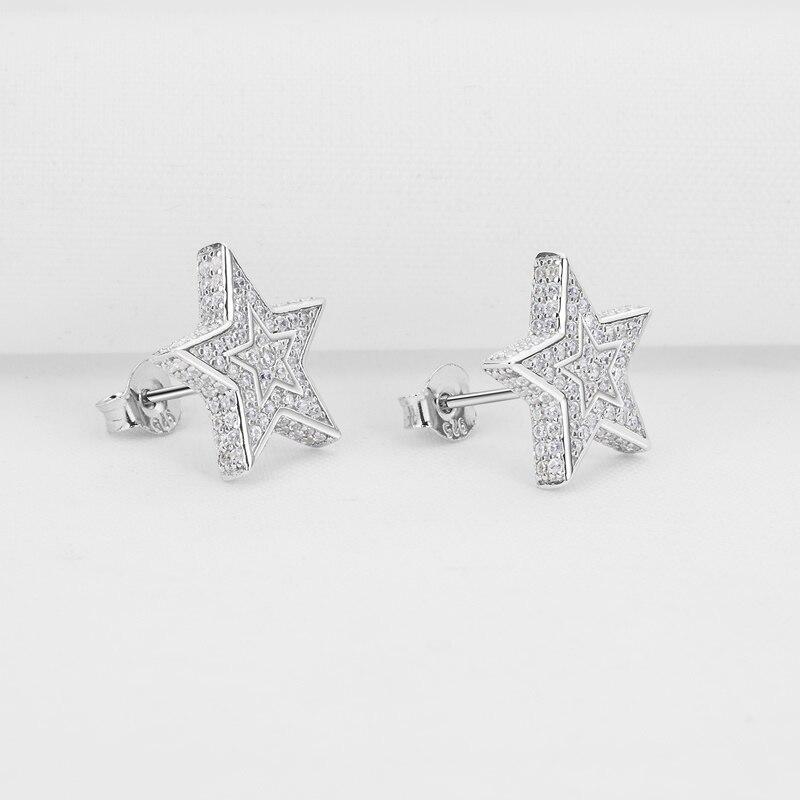 AINUOSHI luxe 925 en argent Sterling boucle d'oreille pour les femmes de mariage Halo étoiles Stud boucle d'oreille bijoux cadeau pendientes plata de ley mujer - 3