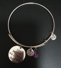 1pc 65mm She Believed she could so she did bangles, Adjustable Expandable Wire Bangle for sale